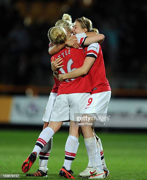 Steph Houghton Kim Little and Ellen White of Arsenal Ladies FC celebrate at the full time whistle at the end of the The FA WSL Continental Cup Final...