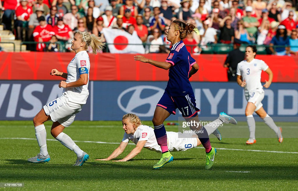 Steph Houghton Laura Bassett and Claire Rafferty of England and Yuki Ogimi of Japan watch the pass of Bassett go into her own net during the FIFA...