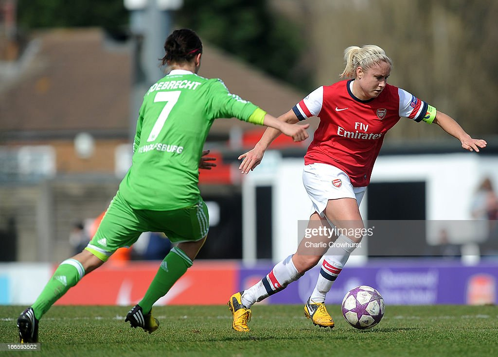 Steph Houghton (R) of Arsenal in action during the UEFA Women's Champions League Semi Final First Leg match between Arsenal Ladies and VFL Wolfsburg at Meadow Park on April 14, 2013 in Borehamwood, England.