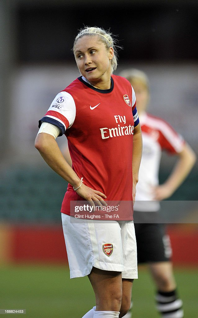 Steph Houghton of Arsenal Ladies during the FA WSL match between Lincoln Ladies FC and Arsenal Ladies FC at the Sincil Bank Stadium on May 15, 2013 in Lincoln, England