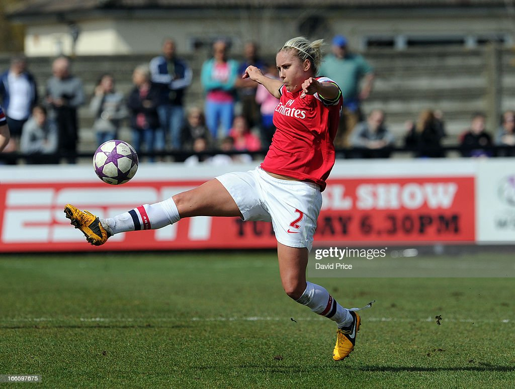Steph Houghton of Arsenal Ladies FC during the Women's Champions League Semi Final match between Arsenal Ladies FC and VfL Wolfsburg at Meadow Park on April 14, 2013 in Borehamwood, United Kingdom.