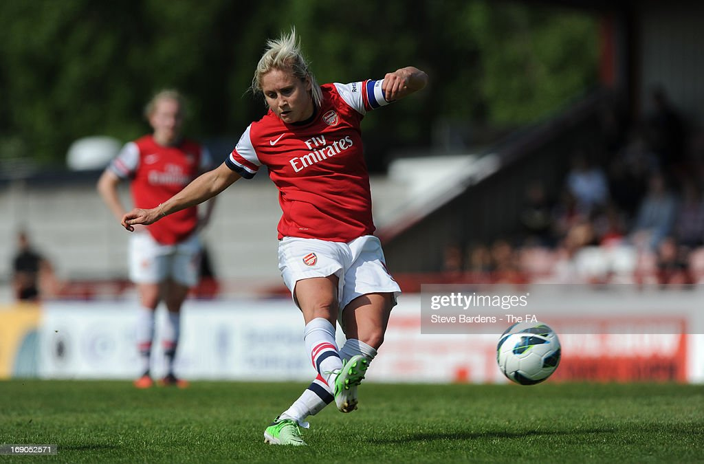 Steph Houghton of Arsenal Ladies FC takes a free kick during the FA WSL Continental Cup match between Arsenal Ladies FC and Bristol Academy at Meadow Park on May 19, 2013 in Borehamwood, England.