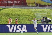 Steph Houghton of England celebrates her goal against Norway during the FIFA Women's World Cup Canada 2015 round of 16 match between Norway and...
