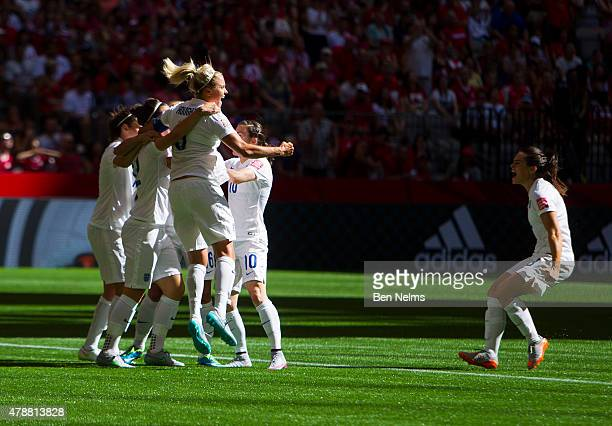 Steph Houghton of England celebrates with teammates and Claire Rafferty after Lucy Bronze scored against Canada during the FIFA Women's World Cup...