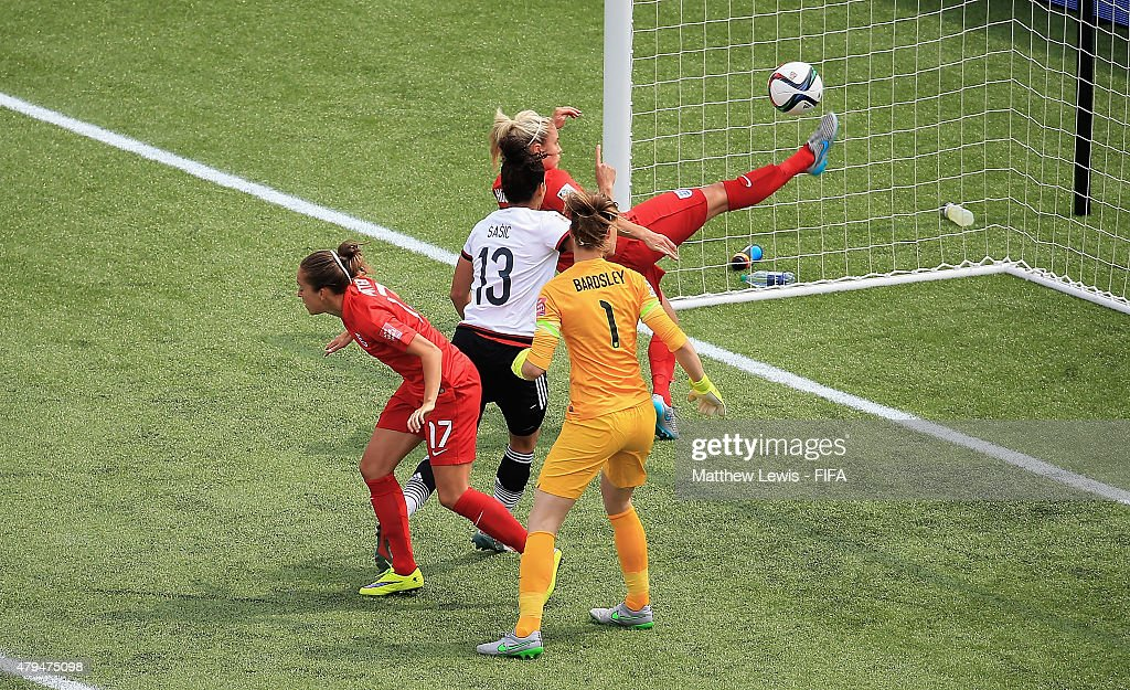 Steph Houghton of England clears the ball off the line during the FIFA Women's World Cup 2015 Third Place Playoff match between Germany and England...