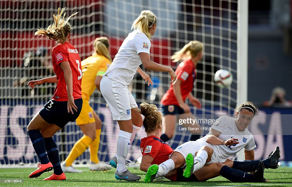 Steph Houghton of England heads her teams first goal during the FIFA Women's World Cup 2015 Round of 16 match between Norway and England at Lansdowne...