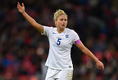 Steph Houghton of England in action during the Women's International Friendly between England and Germany at Wembley Stadium on November 23 2014 in...
