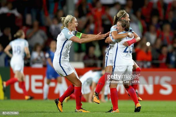 Steph Houghton of England Jordan Nobbs of England and Francesca Kirby of England celebrate victory after the UEFA Women's Euro 2017 Quarter Final...