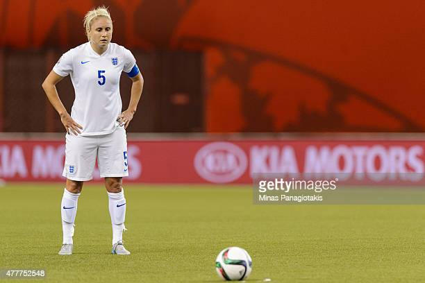Steph Houghton of England looks at the ball during the 2015 FIFA Women's World Cup Group F match against Colombia at Olympic Stadium on June 17 2015...