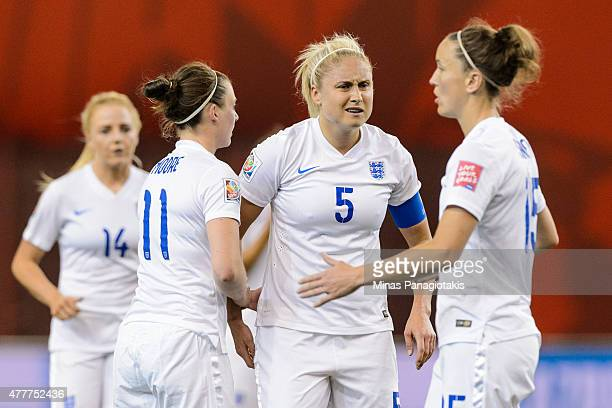 Steph Houghton of England speaks with teammates during the 2015 FIFA Women's World Cup Group F match against Colombia at Olympic Stadium on June 17...