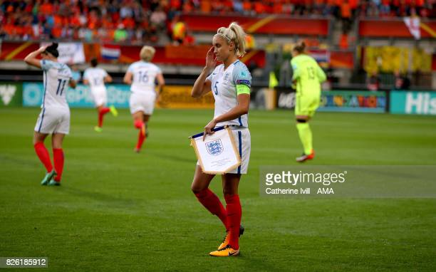 Steph Houghton of England Women with the match pennant before the UEFA Women's Euro 2017 semi final match between Netherlands and England at De...