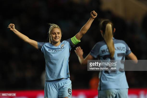 Steph Houghton of Manchester City celebrates victory during the UEFA Women's Champions League Quarter Final second leg match between Manchester City...