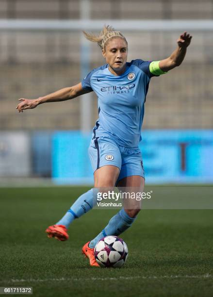 Steph Houghton of Manchester City in action during the UEFA Womens Champions League quarter final second leg match between Manchester City Women and...