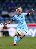 Steph Houghton of Manchester City in action during the Women's FA Cup Semi Final match between Chelsea Ladies and Manchester City Women at Adams Park...