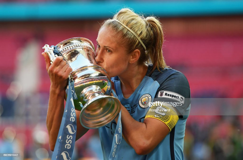 Steph Houghton of Manchester City kisses the trophy after the SSE Women's FA Cup Final between Birmingham City Ladies and Manchester City Women at Wembley Stadium on May 13, 2017 in London, England.