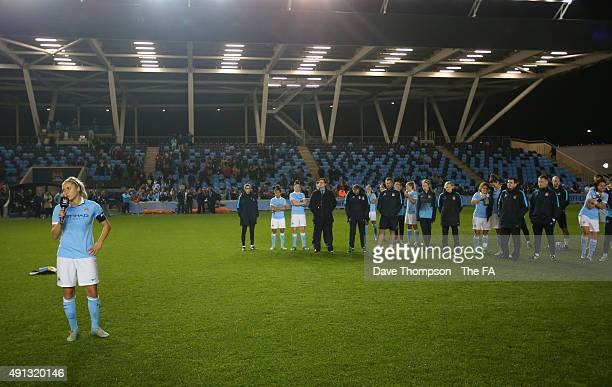 Steph Houghton of Manchester City speaks to the fans at the end of the Women's Super League match between Manchester City and Notts County at the...