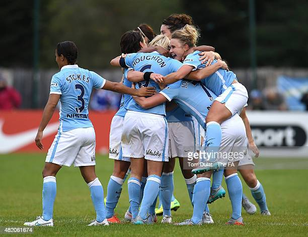 Steph Houghton of Manchester City Women celebrates her goal with the team during the FA Women's Super League match between Chelsea Ladies FC and...