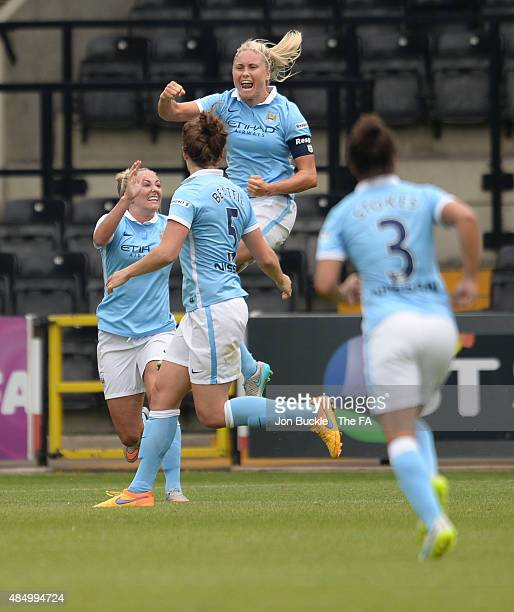 Steph Houghton of Manchester City Women's Football Club celebrates the opening goal of the match during the WSL match between Notts County Ladies and...