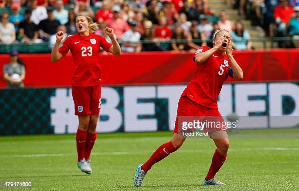 Steph Houghton reacts to missing a scoring chance with Ellen White of England during the FIFA Women's World Cup Canada 3rd Place Playoff match...