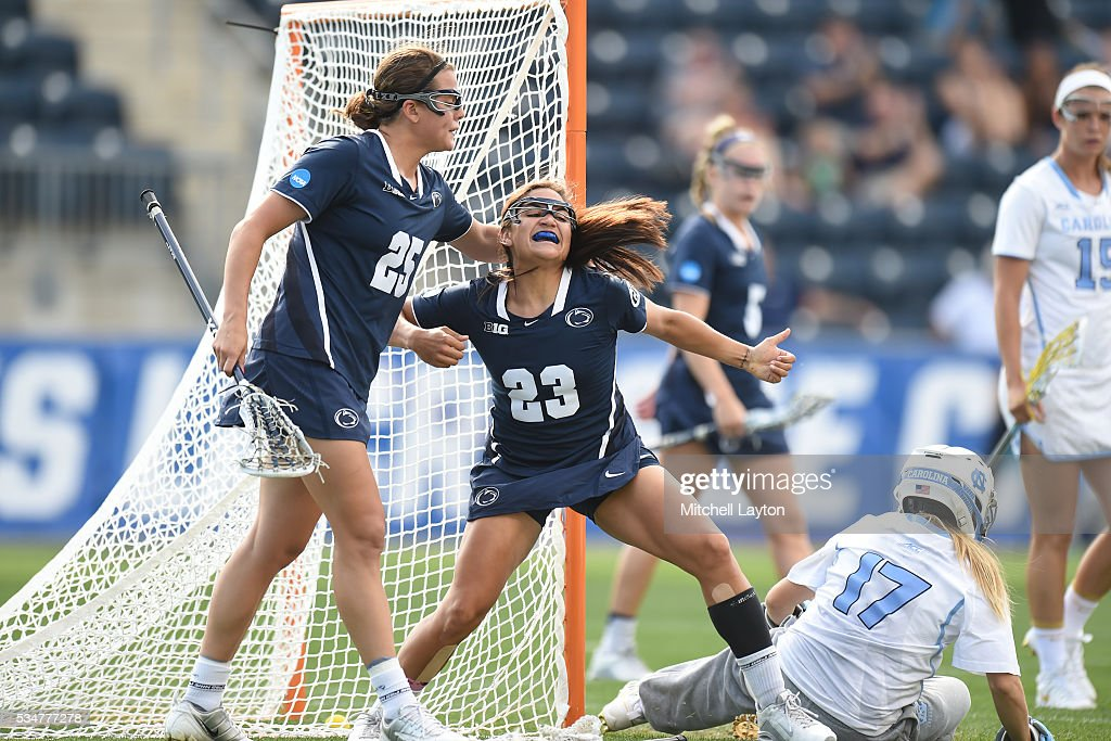 Steph Lazo #23 of the Penn State Nittany Lions celebrates a goal with Jenna Mosketti #25 during the Semifinal NCCA Women's Lacrosse Championship game against the North Carolina Tar Heels at Talen Engery Stadium on May 27, 2016 in Chester, Pennsylvania.