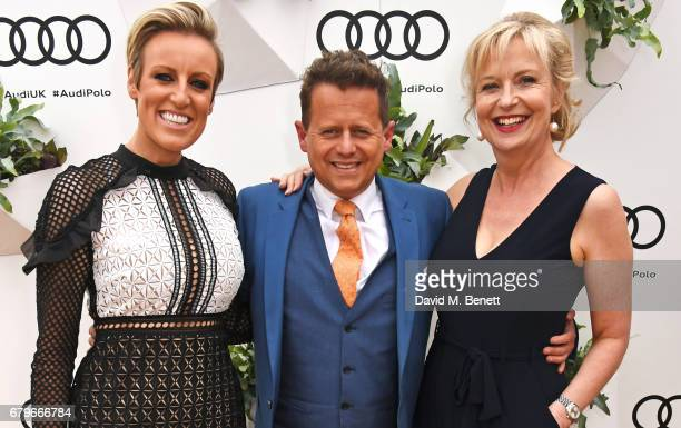 Steph McGovern Mike Bushell and Carol Kirkwood attends the Audi Polo Challenge at Coworth Park on May 6 2017 in Ascot United Kingdom