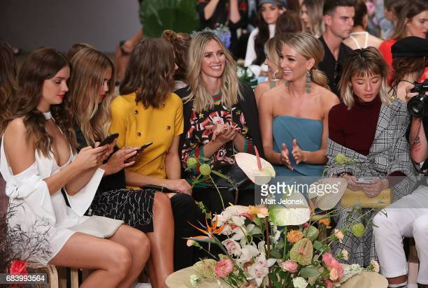Steph Smith Ksenija Lukich Nikki Phillips Anna Heinrich sit front row during the C/meo Collective show at MercedesBenz Fashion Week Resort 18...