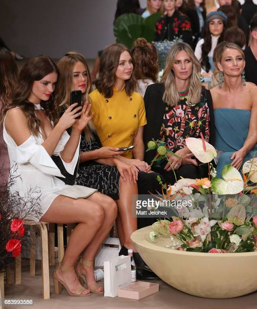 Steph Smith Ksenija Lukich Nikki Phillips Anna Heinrich sit front row at the C/meo Collective show at MercedesBenz Fashion Week Resort 18 Collections...
