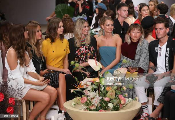 Steph Smith Ksenija Lukich Nikki Phillips Anna Heinrich Yan Yan Chan sit front row during the C/meo Collective show at MercedesBenz Fashion Week...