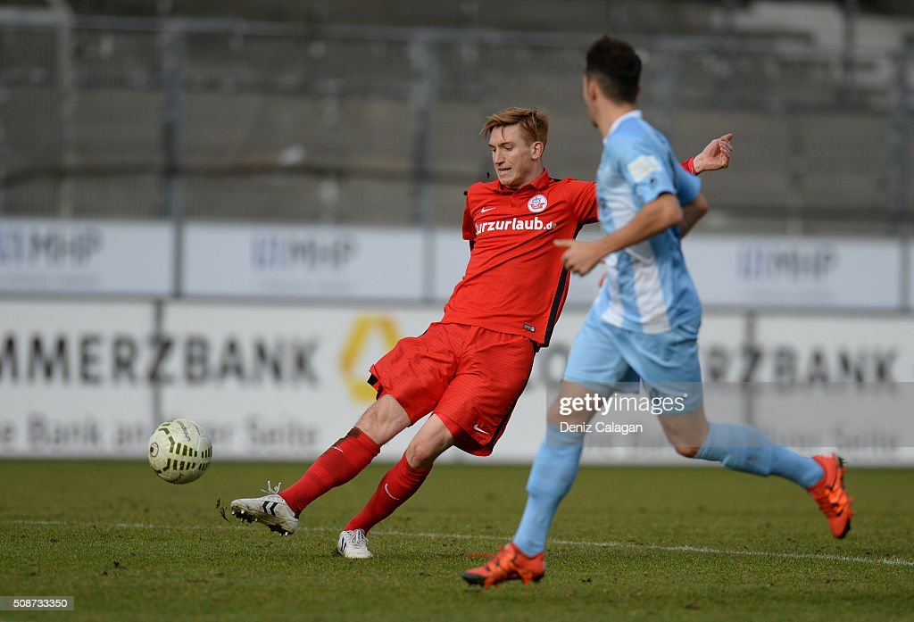 Stephan Andrist (l) of Rostock in action during the 3. Liga match between SV Stuttgarter Kickers and FC Hansa Rostock at GAZI-Stadion on February 6, 2016 in Stuttgart, Germany.