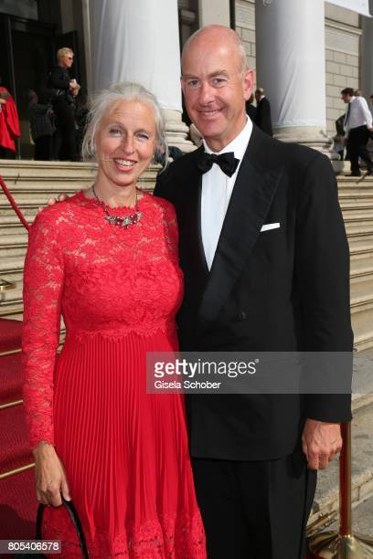 Stephan Boeninger and his wife Susanne Boeninger during the opening of the opera festival and premiere of 'Die Gezeichneten' at Nationaltheater on...