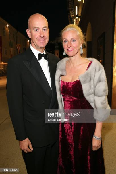 Stephan Boeninger and his wife Susanne Boeninger wearing jewelry and earrings by Thomas Jirgens Juwelenschmiede during the opening of the Easter...