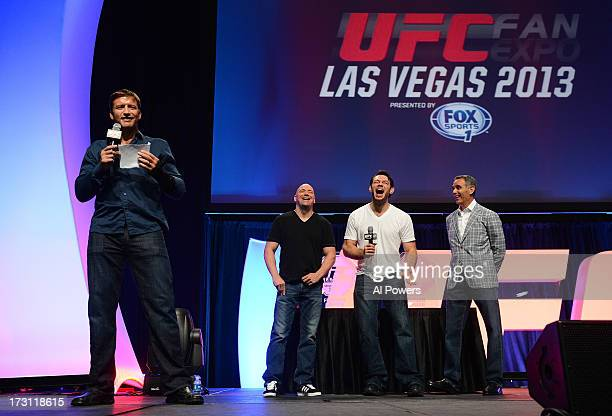 Stephan Bonnar addresses fans after being inducted into the UFC Hall of Fame during the UFC Fan Expo Las Vegas 2013 at the Mandalay Bay Convention...