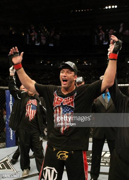 Stephan Bonnar celebrates defeating Kyle Kingsbury during an UFC Light Heavywieght bout at the HP Pavillion on November 19 2011 in San Jose California
