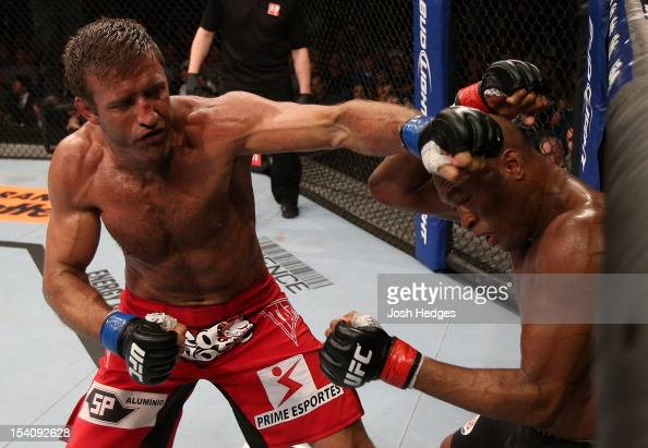 Stephan Bonnar punches Anderson Silva during their light heavyweight fight at UFC 153 inside HSBC Arena on October 13 2012 in Rio de Janeiro Brazil