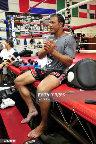 Stephan Bonnar speaks to the media after an open workout session at One Kick's Gym on October 3 2012 in Las Vegas Nevada