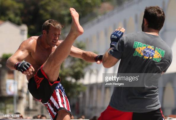Stephan Bonnar works out for fans and media during an open training session ahead of UFC 153 at Arcos da Lapa Praca Cardeal Camara on October 10 2012...