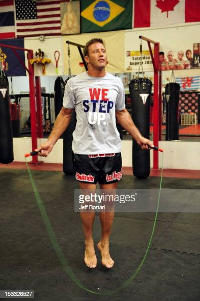Stephan Bonnar works out for the media during an open workout session at One Kick's Gym on October 3 2012 in Las Vegas Nevada