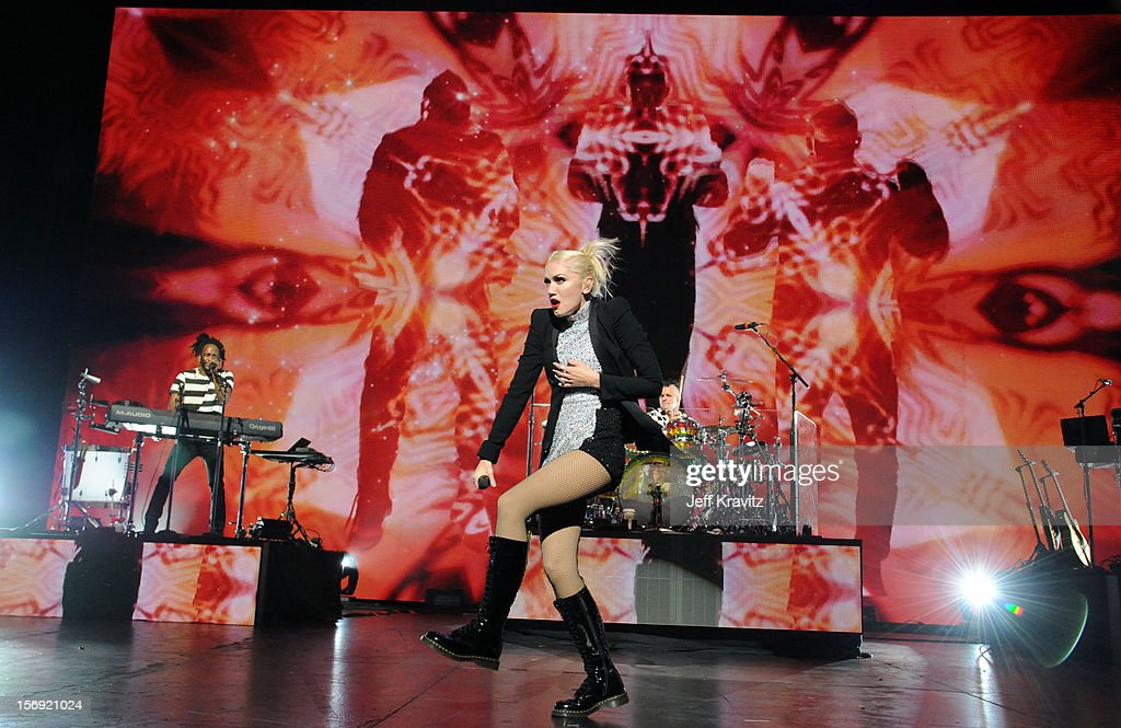Stephan Bradley, Gwen Stefani and Adrian Young performs at No Doubt in Concert at Gibson Amphitheatre on November 24, 2012 in Universal City, California.