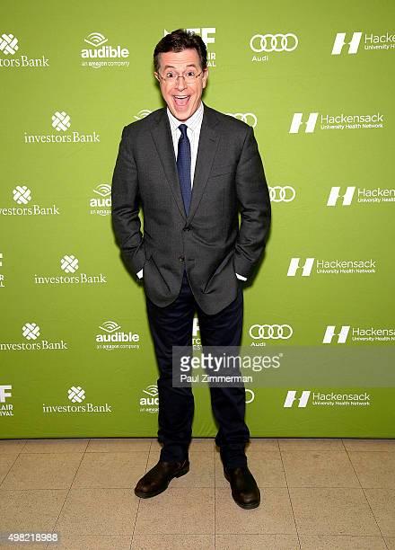 Stephan Colbert attends Montclair Film Festival presents Celebrity NerdOff Stephen Colbert JJ Abrams on November 21 2015 in Newark New Jersey
