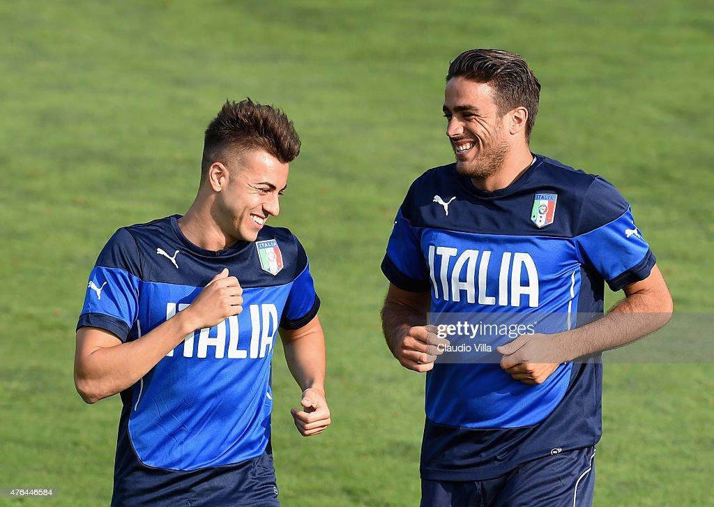 <a gi-track='captionPersonalityLinkClicked' href=/galleries/search?phrase=Stephan+El+Shaarawy&family=editorial&specificpeople=7181554 ng-click='$event.stopPropagation()'>Stephan El Shaarawy</a> (L) and <a gi-track='captionPersonalityLinkClicked' href=/galleries/search?phrase=Alessandro+Matri&family=editorial&specificpeople=4501520 ng-click='$event.stopPropagation()'>Alessandro Matri</a> smile during the Italian training session at Coverciano on June 9, 2015 in Florence, Italy.