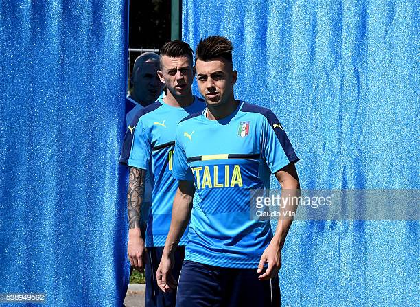 Stephan El Shaarawy and Federico Bernardeschi of Italy look on prior to the training session at 'Bernard Gasset' Training Center on June 9 2016 in...