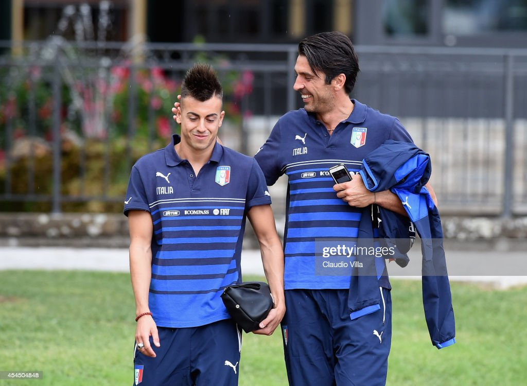<a gi-track='captionPersonalityLinkClicked' href=/galleries/search?phrase=Stephan+El+Shaarawy&family=editorial&specificpeople=7181554 ng-click='$event.stopPropagation()'>Stephan El Shaarawy</a> (L) and <a gi-track='captionPersonalityLinkClicked' href=/galleries/search?phrase=Gianluigi+Buffon&family=editorial&specificpeople=208860 ng-click='$event.stopPropagation()'>Gianluigi Buffon</a> prior to the Italy Training Session at Coverciano on September 2, 2014 in Florence, Italy.