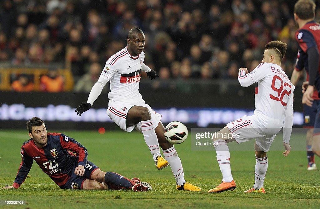 Stephan El Shaarawy #92 and Mario Balotelli AC Milan during the Serie A match between Genoa CFC and AC Milan at Stadio Luigi Ferraris on March 8, 2013 in Genoa, Italy.