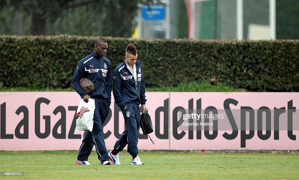 Stephan El Shaarawy and Mario Balotelli of Italy during a training session at Coverciano on February 5, 2013 in Florence, Italy.