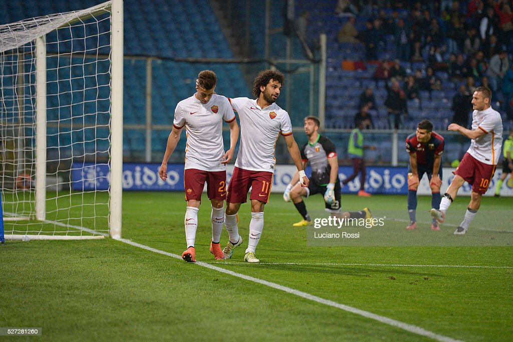 Stephan El Shaarawy and Mohamed Salah celebrate after a goal scored by Stephan El Shaarawy during the Serie A match between Genoa CFC and AS Roma at Stadio Luigi Ferraris on May 2, 2016 in Genoa, Italy.