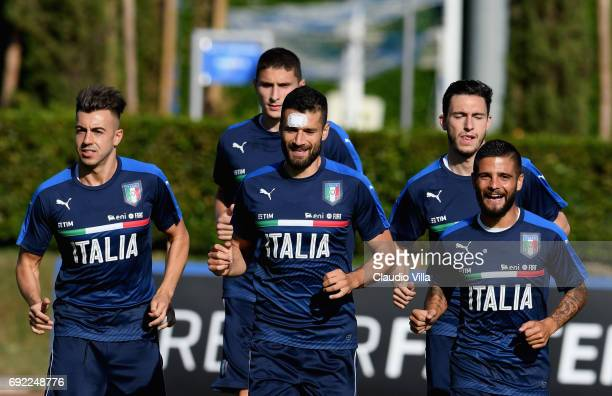 Stephan El Shaarawy Antonio Candreva and Lorenzo Insigne of Italy in action during the training session at Coverciano at Coverciano on June 04 2017...