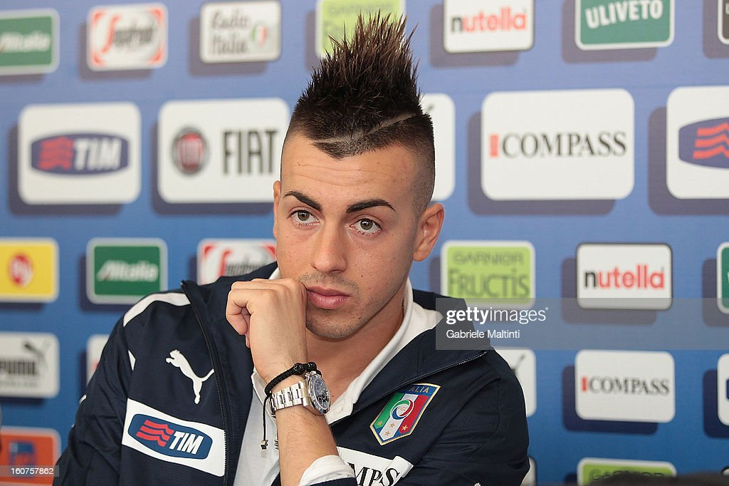 Stephan El Shaarawy attends a Italy press conference at Coverciano on February 5, 2013 in Florence, Italy.