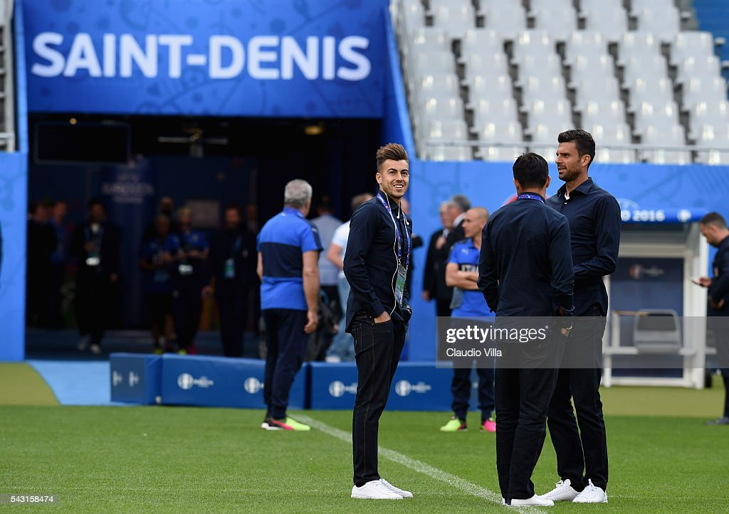 Stephan El Shaarawy (L) attends a pitch walkabout at Stade de France on June 26, 2016 in Paris, France.
