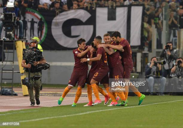 Stephan El Shaarawy celebrates after scoring a goal during the Italian Serie A football match between AS Roma and FC Juventus at the Olympic Stadium...