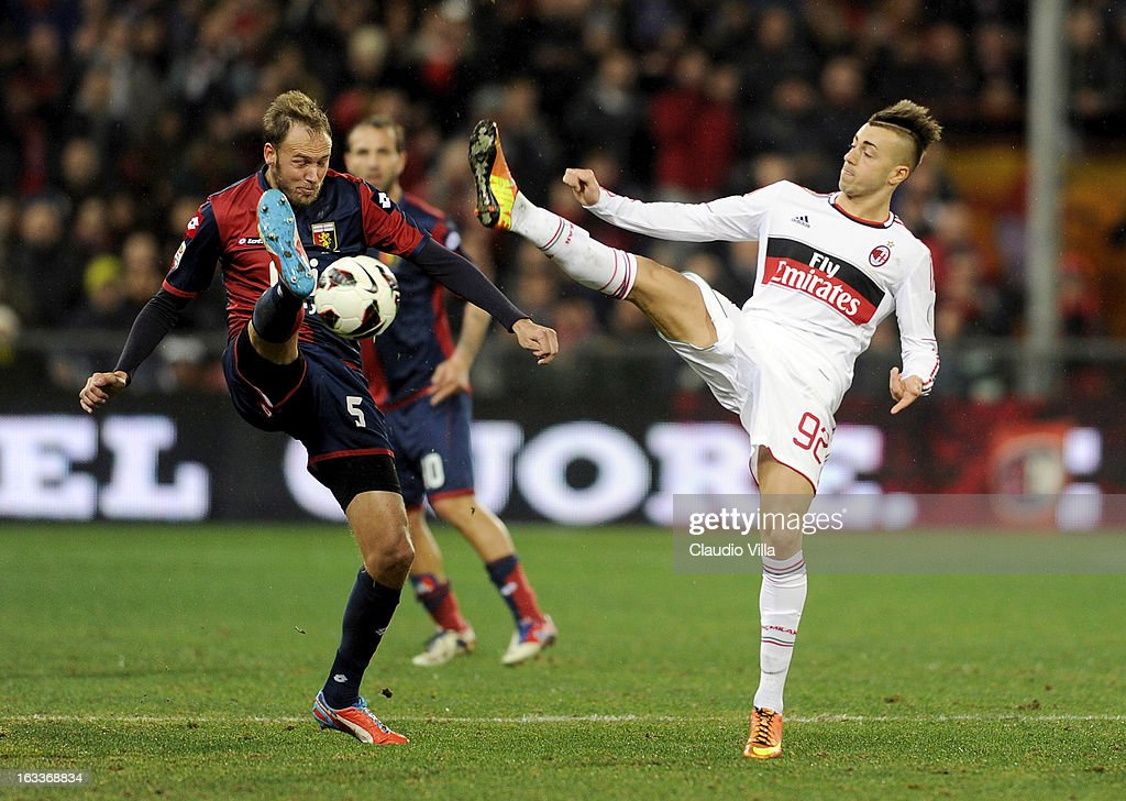 Stephan El Shaarawy of AC Milan and Andreas Granqvist #5 of Genoa CFC compete for the ball during the Serie A match between Genoa CFC and AC Milan at Stadio Luigi Ferraris on March 8, 2013 in Genoa, Italy.